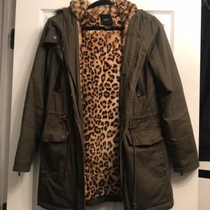 Army Green Fur Lined Parka Coat